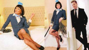 Guido Süller jugó a ser azafata: imperdible producción de fotos como mujer