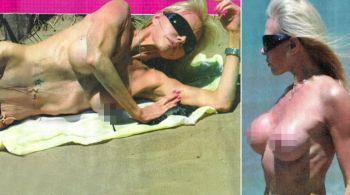 Filtran fotos de la ex vedette Adriana Aguirre casi desnuda