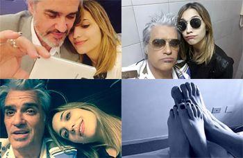 Las selfies románticas de Roberto Pettinato y su joven novia Daiana