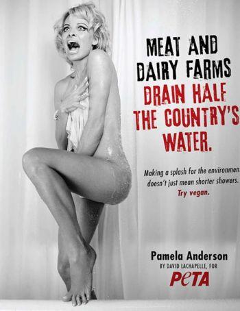 Desnuda, Pamela Anderson recreó una escena de Psicosis
