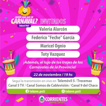 """""""¿Quién sabe más de Carnaval?"""" presentará lujosos trajes de la provincia"""