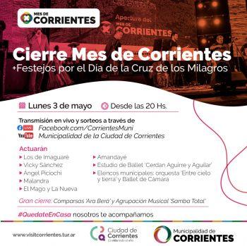 El cierre del Mes de Corrientes se realizará con transmisión online