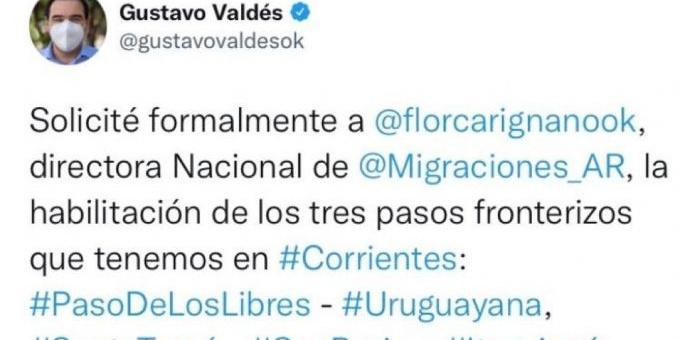 Valdés pidió la apertura de fronteras en Corrientes